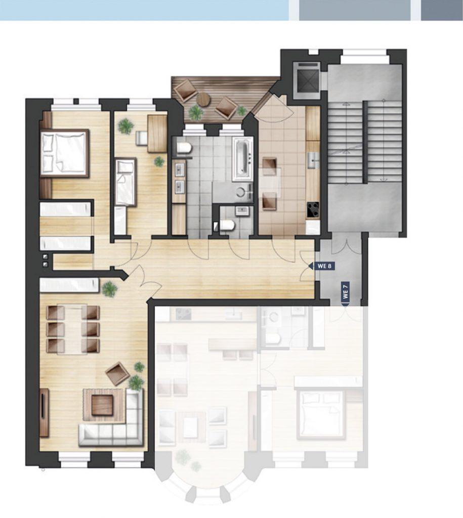 ja14 jahnallee 14 eigentumswohnungen im leipziger waldstra enviertel wohnung 08 2 og rechts. Black Bedroom Furniture Sets. Home Design Ideas